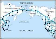 astraitbetween Alaska and the Russian Federation in Asia, connecting the BeringSea and the Arctic Ocean. 36 miles wide