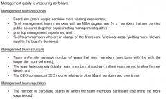 Management team resources, management team structure, and management team reputation.