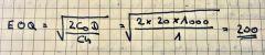 1. EOQ      EOQ = (SQRT(2 x 20 x 1000)) / 1 = 200 units      2. Time between orders      EOQ / D = 200 / 1000 = 0,2      3. Order frequency      D / EOQ = 1000 / 200 = 5 per period