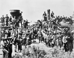 My Definition: Railroads that would link both the West and East coast of the country. Built on the backs of immigrants from Europe and Chinese immigrants.   Sentence: The construction of the transcontinental railroad came to an end on May 10th 186...