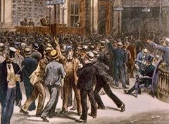 My Definition: Economic panic which led to the bankruptcy of 25 % of railway lines.   Sentence: As a result of the panic of 1893 J.P Morgan purchased the bankrupt railways and stabilized rates and reduced all debts.