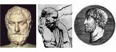 Los milesios:  ► Tales de Mileto (Floruit circa -585) ► Anaximandro (fl. c. -550)  ► Anaxímenes (fl. c. -545)