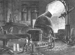 My Definition: Blasting air through molten steal creates high quality steel.   Sentence: Henry Bessemer of England and William Kelly of the United States both used the Bessemer process to create better steel quality.