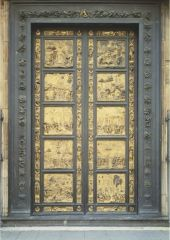 - five panels on each side, made of cast bronze which was then gilded. Very plain large squares, decorative borders Isaac and His Sons - Low relief is Rebekah in the background giving birth with attending women in the foreground. Esau getting rea...