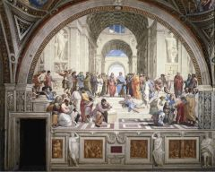 - worked for the Pope, wanted frescos to fit into the space, really depict learning. Brings together philosophers from a number of different eras, philosophic worlds = wants to show modern Rome as interior of Athens legacy. Tries to show that mod...