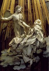 - St. Theresa - known for ecstatic vision, wrote a spiritual biography - shapes rock to look like different textures, made of marble - wrote in very graphic terms about vision - pierced by angel's arrow - barely see body at all = looks incorporea...