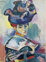 """- portrait of his wife, traditional subject - very bold = use of colors that are not descriptive, messy brushwork that expresses emotion - """"entering a cage of wild beasts"""" - fauve = wild beast - appears she is turning around in chair, hard to u..."""