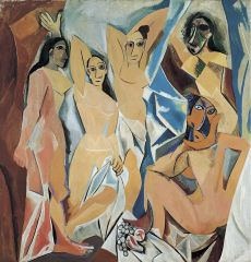 """- Reuses non-European art, uses geometric forms to create a new way of expressing the human body and showing forms in space - depicts five women in an interior space, pretty clearly alluding to prostitutes in a brothel - """"chose of Hercules"""" = sin..."""