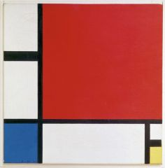 - two neutral colors, simple primary colors, nothing blended = reducing the painting down to its most basic form - very simple lines = vertical and horizontal - by simplifying and reducing visual language, purifies society - early 20th century ab...