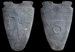 #12 Palette of King Narmer  Predynastic Egypt 3,000 - 2,920 B.C.E. _____________________ Content: This is a stone pallate that has been subtractivly carved to depict