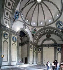 Brunelleschi   PAZZI CHAPEL   small   scaled to human dimension   supposed to walk in and feel like you fit   wanted to create sense of balance   for example the squares are very symmetrical   central plan   white walls and g...