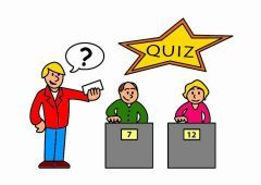 Type: noum  Definition: game involving questions   Synonims: exam, test, investigation.  Antonyms: answer, reply.