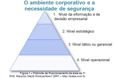 1. Nível da informação e de decisão empresarial   2. Nível estratégico   3. Nível tático ou gerencial   4. Nível operacional