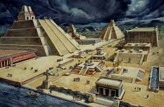 #157 Templo Mayor (main temple) Tenochtitlan (modern day Mexico City, Mexico) Mexica (Aztec)  125 C.E. _____________________ Content: Illustration of one of the most important and largest stepped-pyramid temples in the ancient Aztenchean city of T...
