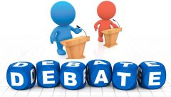 a formal discussion on a particular topic in a public meeting or legislative assembly, in which opposing arguments are put forward.