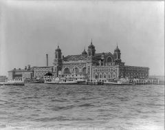 My Definition: Immigration Center on an island ahead of New York Harbor that processed millions of new immigrants from 1892 up until the early 1900's.   Sentence: Women who were birthing were forced to stay in Ellis Island and give labor, and were...