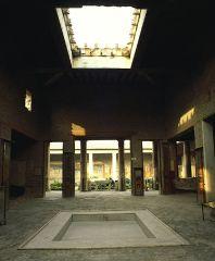 - atrium (courtyard) - impluvium (pool in centre to collect rainwater)   < House of the Vettii, Pompeii < 62-79 CE