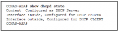 Refer to the exhibit. According to the command output, which three statements are true about the DHCP options entered on the ASA 5505? (Choose three.)