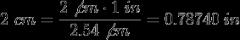 Siguiendo con el ejemplo, ya conocido el factor de conversión obtenido podemos convertir 2 cm a pulgadas y 3 pulgadas a cm.