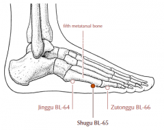 On the lateral side of the foot, in the depression posterior and inferior to the head of the fifth metatarsal bone.