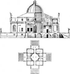 Palladio   Villa Rotonda   big house for wealthy people   private for business men   dome - renaissance   colonnade   took elements and applied them to his home   very strict symmetry   central plan house   wanted to see all ...