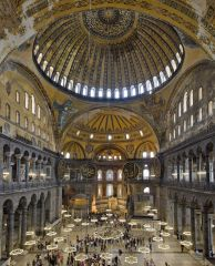 a vault, having a circular plan and usually in the form of a portion of a sphere, so constructed as to exert an equal thrust in all directions. Ex: Hagia Sophia (Roman)