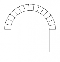 an arch formed in a continuous curve, especially in a semicircle.