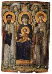 An image representing a sacred figure or event in the Byzantine church. Icons are worshiped, and they are believed to be a link to the Divine.