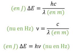 h est la constante de Planck (valeur donnée dans les sujets).