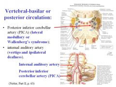 A stroke to PICA would cause Wallenberg's syndrome, resulting in alternating hemianesthesia: •Contralateral loss of pain and temperature from the body and ipsilateral loss of pain and temperature from the face •Dysphagia, dysphonia and dyspnea caused