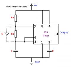 Duty cycle: ((R1+R2)/(R1+2R2))*100  note: placing a diode over R2, in parallel, allows the duty cycle to be lower than 50%