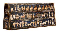 #16   The Standard of Ur from the Royal Tombs at Ur   modern Tell el-Muqayyar, Iraq   Sumerian   2,600 - 2,400 B.C.E.   _______________________Content: The standard is a wooden box with lapis-lazuli inlays on all sides. There are mosaics...