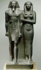 #18   King Menkaura and queen   Egypt   Old Kingdom - Fourth Dynasty   2,490 - 2,472 B.C.E.   _______________________   Content: This is a piece of funerary statuary of Pharaoh Menkaura and his queen made of a hard, dense stone calle...