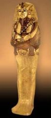 #23   Tutankhamun's tomb, innermost coffin   Egypt   New Kingdom - 18th Dynasty   _____________________   Content: This is the most elaborate coffin of King Tut's and is the one that held the mummy. It has the boy king depicted with the ...