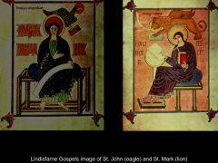 Artist: Bishop Eadfrith Title: Lindisfarne Gospels Evangelist Portraits Date: 700 subject: St. John and St. Mark