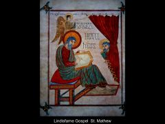 Artist: Bishop Eadfrith Title: Lindisfarne Gospels Evangelist Portraits Date: 700 subject: St. Matthew