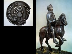 Title: Equestrian Statue of Emperor Charlemagne  Date: ninth century Subject: comparison to Carolingian coin
