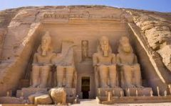Temple of Ramses II    Abu Simbel, Egypt   New Kingdom   1,225 B.C.E.   _______________________   Content: This was a rock-cut temple with four seated representations of Ramses II on the outside and many, massive statues (32 ft tall) ser...