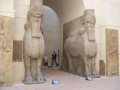 #25 Lamassu from the citadel of Sargon II, DurSharrukin   Modern Khorsabad, Iraq   Neo-Assyrian   720 - 705 B.C.E.   _______________________   Content: The Lamassu were mythological creatures depicted here as having the body of a bull, t...