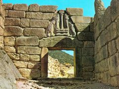 The Lion Gate   islands of the Mediterranean, Greece   Proto Greek / Mycenaean   1,400 B.C.E.   _______________________   Content: This is a post and lintel gate, topped with an early arch that encases the scuptures of two lions (witho...