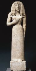 """Lady of Auxerre Kore   Archaic Greek   650 B.C.E.   _______________________   Content: As a """"kore"""", this is a sculpture of a young woman of limestone. And although classified as the sculpture, the figure is only 2 1/2 feet tall. It has b..."""