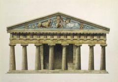 Temple of Artemis at Corfu   on an island of Greece   Archaic Greek   600 B.C.E.   _______________________   Content: Today, only the pediment still exists but artist renderings give a good idea as to what the temple looked like in ancie...