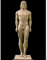 """#27   Anavysos Kouros   Archaic Greek   530 B.C.E.   ______________________   Content: This is a sculpture of a young, Greek war hero. It's made of marble and is 6'4"""" tall.   ______________________   Style: The statue shows great str..."""