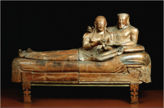 #29   Sarcophagus of the spouses   Italy   Etruscan   520 B.C.E.   ______________________   Content: This is a piece of funerary statuary that was meant to honor and also to house the remains of a well-to-do couple in Etruscan society....