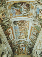 Painted on ceiling of palace used for wedding. All panels have mythological aspect of love. There are no actual frames..painted on. Similar to high renaissance because of the perfect frames.