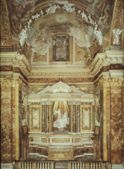 greatest work of bernini, came in to decorate chapel for wealthy. look like a theater. statue in middle is st.theresa in a state of testacy.rays behind statue symbolize heave rays coming down. window in figure over the statue