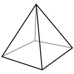 Poliedro cuya base es un cuadrado; tiene caras triangulares que se juntan en un vértice común.