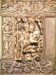 Justinian as defender of the faith, (Barberini Ivory), Byzantine, mid-sixth century CE