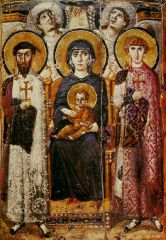Virgin and Child with Saints and Angels, St. Catherine at Mt. Sinai, Byzantine, second half of the 6th century.