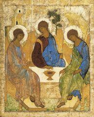 Andrey Rublyov, The Old Testament Trinity (Three Angels Visiting Abraham), Byzantine, 1410-1425.